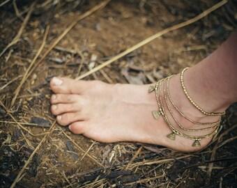 Tribal Anklet Bracelet With Brass Beads