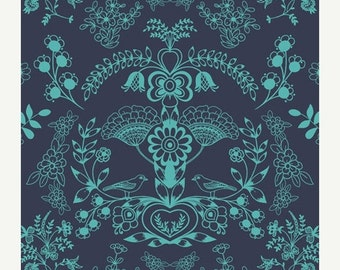 ON SALE - Floralism in Deep Sea (MO-4804) - Modernology by Patricia Bravo - Art Gallery Fabrics - By the Yard