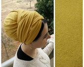 New Mustard hair wrap, Chic suede leatherette Head scarf, long rectangular headscarf