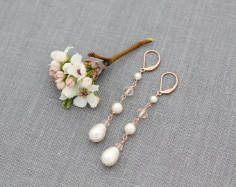 Long Rose Gold Bridal Earrings, Bridal Jewelry, Crystal & Pearl Drops, Linear, Rose Gold Wedding Earrings