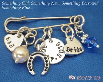 Personalised Brides Wedding Charm Pin or Brooch, Something old new borrowed blue, Hand Stamped, Swarovski Crystal & Pearl