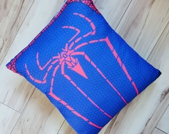 Spiderman cushion pillow marvel super hero character cushion up-cycled recycles t-shirt pillow