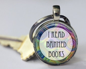 ON SALE Book Keychain, I Read Banned Books, Key Chain, Key Fob, Librarians, Bibliophiles, Book Lovers