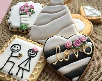 Bridal shower, wedding, engagement cookie assortment