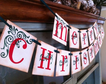 Christmas Decoration Merry Christmas Sign Double Garland Christmas Banner Decoration/ Red and Green