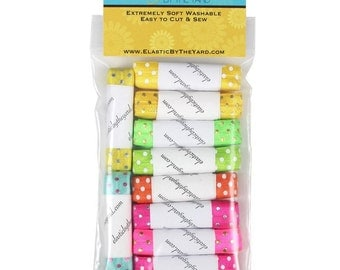 Hot Dots 10yd Multi Pack of Printed Fold Over Elastic