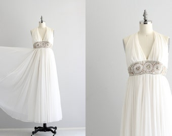 1960s Wedding Dress . White Maxi Dress . 60s Evening Dress