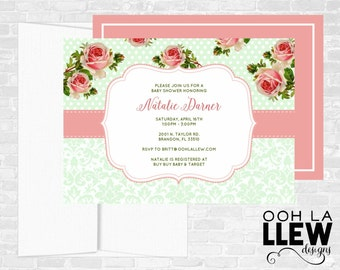 Mint and Pink Baby Shower Invitation