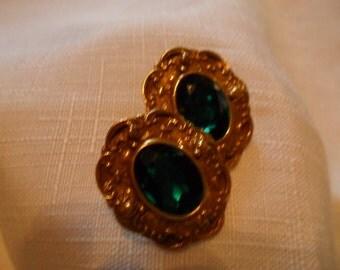Vintage Green Rhinestone Gold Tone Pierced Earrings