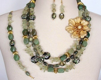 Moss Green Statement Necklace, Big Bold Chunky Necklace, Green Floral Necklace, Multi Strand, 3  Piece Set, Layered Artisan Necklace