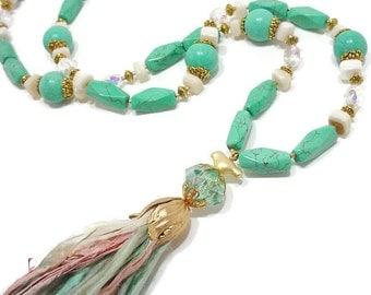 Turquoise Tassel Necklace, Long Boho Necklace, Bohemian Jewelry, Long Statement Necklace, Handmade Tassel, Boho Chic Necklace