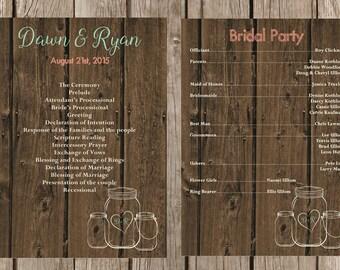 Rustic Wedding Program, Modern Wedding Program, Mason Jar Wedding Program, Country Wedding Program, Custom Wedding Program