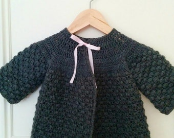 Clarisse Classic Cardigan/ Sweater handmade crochet - baby girl cardigan