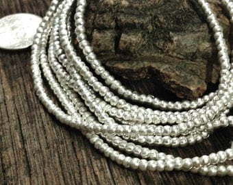 Tiny 2mm Round Spacer Beads - Fine Silver Seed Beads -   2.6mm x 2.6mm - Karen Hill Tribe 100 Pc - Oakhill Silver Supply MB73