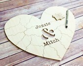 40 pc Wedding Guest Book Puzzle, guestbook alternative, wood HEART puzzle guest book Bella Puzzles™ rustic wedding, minimalist modern