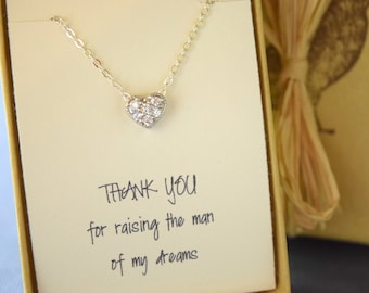 Thank you for Raising the Man of my Dreams, CZ Heart Necklace, Heart Choker,  Mother of the Groom Gift