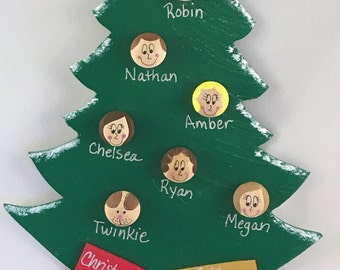 Personalized Ornament - Family Tree Ornament 5-16 Faces