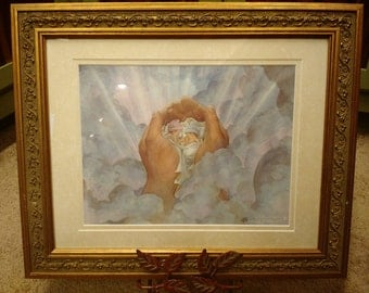In Father's Hands Signed Print in an 11x14 Decorative Gold Frame