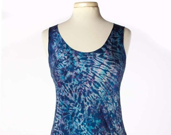 S/M Silk Charmeuse Shibori Bias Tunic Tank Top Turquoise Violet Size Small/Medium