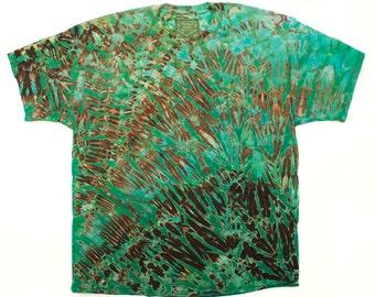 XXL Shibori Dyed Men's T Shirt Green Black Tie Dye 2