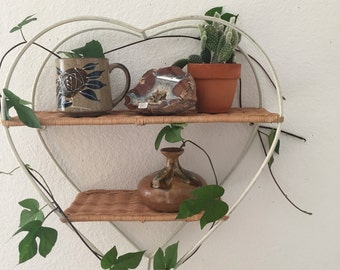 vintage heart wicker metal wire wall shelf / rack