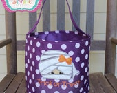 One of a Kind Mummy Halloween Bucket Trick or Treat Personalize with your child's name