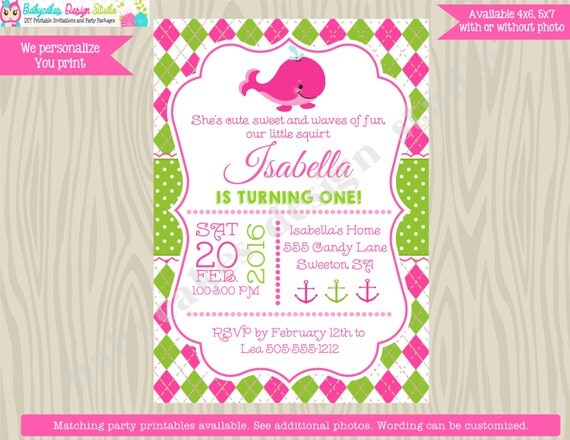 Girl Preppy Whale birthday invitation Whale invite girl 1st birthday pink green under the sea printable diy digital