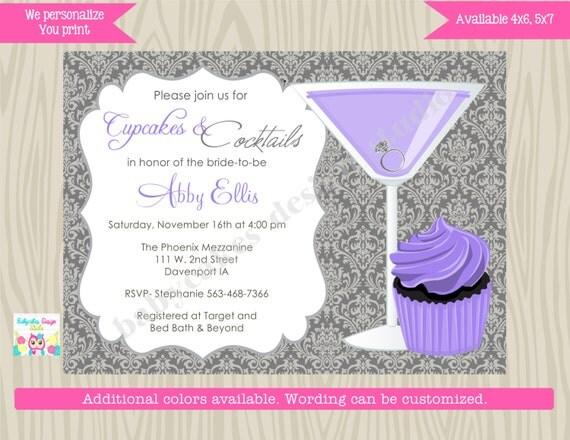 Cupcakes and Cocktails Bridal Shower Invitation Invite Purple Wedding Shower Bachelorette Birthday Invitation DIY Printable