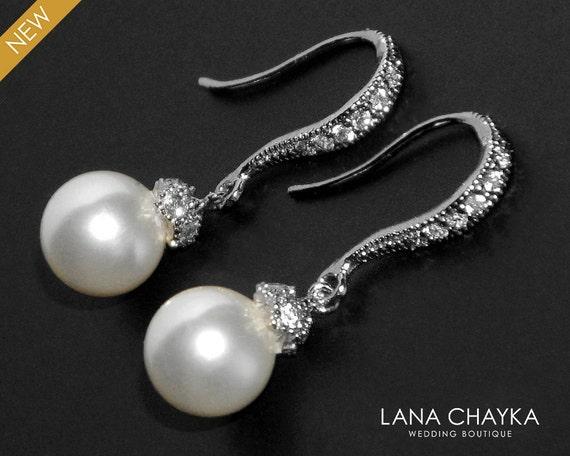 Brautschmuck ohrringe perlen  Weiße kleine Perlenohrringe Braut Tropfen Ohrringe Sterling