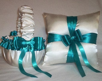 Ivory Cream Satin With Teal  Ribbon Trim Flower Girl Basket And Ring Bearer Pillow Set 1