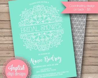 Filligree Floral Bridal Shower Invite, Printable Floral Bouquet Bridal Shower Invitation - Outline Floral Bridal Shower in Teal
