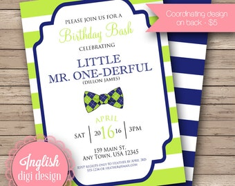 Bow Tie Birthday Party Invitation, First Birthday Party Invite, 1st Birthday Invite, Bow Ties, Stripes - Bow Tie Birthday in Green & Blue
