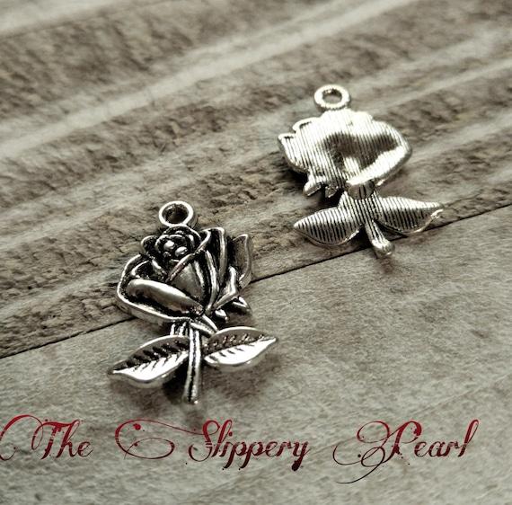 Rose Charms Pendants Antiqued Silver Flower Pendants Ornate Design Silver Flowers 10 pieces