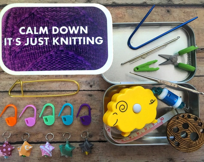 Knitter's Tool Tin - Calm Down, it's just Knitting: altered altoid tin with knitting and sewing notions!
