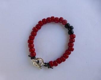 Men's RED with BLACK Bracelet