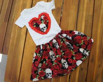 Olivia Paige - Little sugar skull rockabilly Heart punk rock outfit bodysuit with skirt Tattoo Dress all sizes