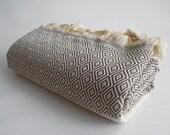 SALE 70 OFF/ BathStyle / Light Brown / Diamond Style Turkish Beach Bath Towel Peshtemal / High Absorbent Towels