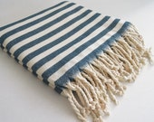 SALE 50 OFF/ Turkish Beach Bath Towel Peshtemal / Petrol Blue Striped / Bath, Beach, Spa, Swim, Pool Towels