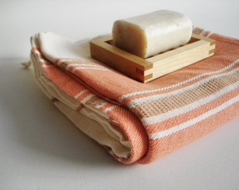 SALE 50 OFF/ BathStyle / Coral-Natural / Turkish Beach Bath Towel / Wedding Gift, Spa, Swim, Pool Towels and Pareo