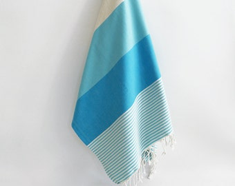 SALE 50 OFF/ Turkish Beach Bath Towel / Classic Peshtemal / Blue / Wedding Gift, Spa, Swim, Pool Towels and Pareo