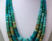 Turquoise Graduated Tire Slice Bead 3 Strand Necklace with Sterling Silver and Tigers Eye Designer Clasp