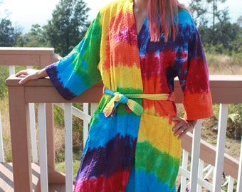 Tie Dye bathrobe upcycled