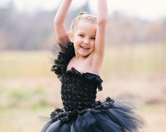 Beautiful 3d Black Rose Flower Girl Tutu Dress
