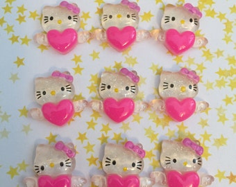 9 Pcs Hello Kitty Angel Heart Pink Cabochon Flatback Destash