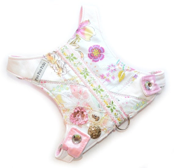 Small Dog | Choke Free | Denim | Flowers | Pink | White | Dog Harness | Grace Spring Flowers