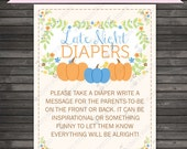 Boy Little Pumpkin Baby Shower Late Night Diaper Game Printable - Diaper Thoughts Message Game - Instant Download - Blue Baby Shower
