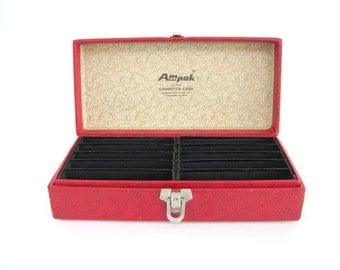 Vintage Storage Case Portable Craft Music Cassette Tape Storage Box Small Textured Red Black Cardboard Mens Gift Man Cave Ampak
