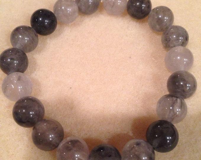 Tibetan Quartz Bracelet, Grey Quartz Bracelet, Stretch Bracelet, 10mm Round Bead Bracelet, Gemstone Bracelet, Yoga Bracelet