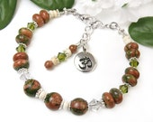 Om Bracelet, Unakite Gemstone, Crystals, Adjustable Spiritual Handmade Jewelry, Chaplet Design