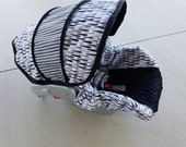 Ready to ship baby car seat cover with ties and black minky - fits Graco 22 infant seats - Free Shipping - Infant Car Seat Cover - 4pc set